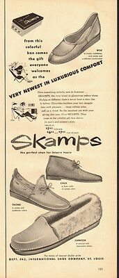 1953 vintage Ad, SKAMPS Leisure Shoes, Chinook, Chux, Thong Wisk Styles - 030714