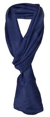 Damen TigerTie Seidenschal blau marine einfarbig - Schal Gr. 180 x 50 cm