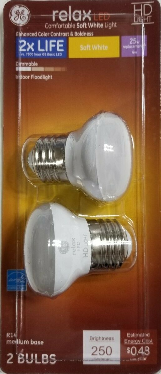ge 2 pack hd light led r14