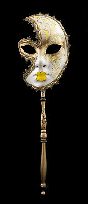 Mask Venetian in Stick Moon Anna Carnival Evening Ballgown Venice Yellow 1553