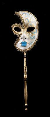Mask Venetian in Stick Moon Anna Carnival Evening Ballgown Venice Sky Blue 1551
