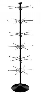 Floor Spinner Display Rack - 6 Tier 36 Peg Hook 5 Wide Round Base Black