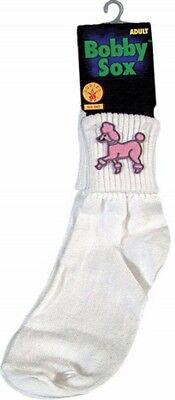 Adult Poodle Socks White Women's Pink Bobbie 50's Sock Hop Costume