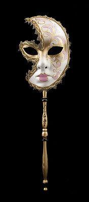Mask Venetian in Stick Moon Anna Carnival Evening Ballgown Venice Pink 1550 VG24