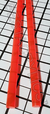 2 Pc Fluorescent Orange 12 Diameter Acrylic Color Rod 12 Inch Long Clear