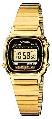 Casio LA670WGA-1, Digital Watch, Goldtone Metal Band, Alarm, Timer