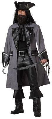 Pirate Costume Blackbeard The Pirate Mens 4 Pc Gry & Blk Coat Jabot Hat & - Pirat Blackbeard Kostüm