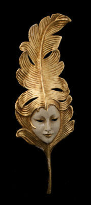 Mask Venice Face feather golden paper mache Luxe 1799