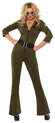 Smi - Karneval Damen Kostüm Top Gun Fliegerin Overall - Top Gun Kostüm Damen Overall