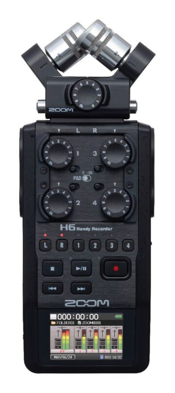 Zoom H6 All Black Handheld Recorder