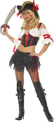 Women's Sexy Marauder Pirate Skull Printed Costume Leg Ave 789187](Women Pirate Costumes)