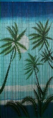 Natural Bamboo Beaded Curtain Caribbean Palms Beads Window Doors Divider -