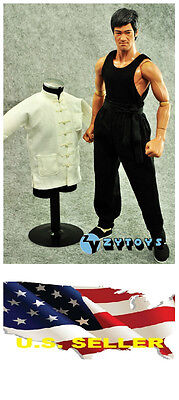 ❶❶1/6 white Chinese-style Costume black pants Bruce Lee Kung Fu suit USA❶❶ - Bruce Lee Kids Costume