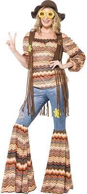 70's Hippie Damenkostüm NEU - Damen Karneval Fasching Verkleidung Kostüm