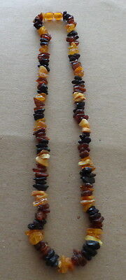 """raw Antique Natural  multicolor   Baltic Amber Beads Necklace 18. """"  #2"""