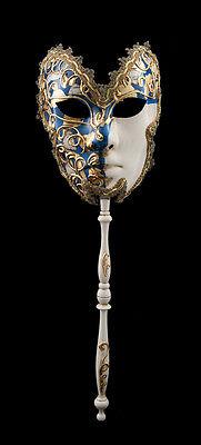 Mask Venetian to Stick Moon Farfella Carnival Prom Evening Venice Blue 1547 VG23