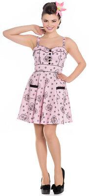Hell Bunny KEEPSAKE Vintage Sugar Skull Button MINI Swing Kleid DRESS Rockabilly