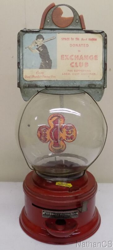 Ford Gumball Machine, Chute cup, with rare ad frame