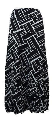 JM Collection Women's Ruffled Trim Printed Mesh A-Line Skirt L, Geo Wave