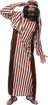 Da Uomo Marrone a Righe Pastore Natale Costume Vestito Medio