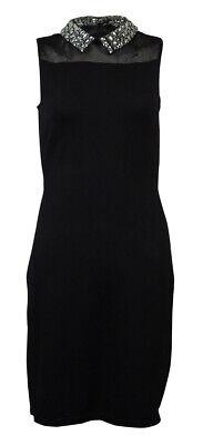 Lauren Ralph Lauren Women's Rhinestone Embellished Collar Knit Dress (PS, Black)