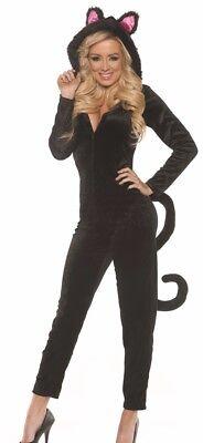 Sexy Black Kitty Cat Jumpsuit Jumper Furry Costume Adult Womens   L 14 16