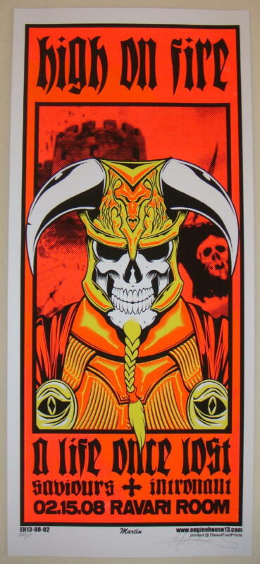 2008 High on Fire - Columbus Silkscreen Concert Poster S/N by Mike Martin
