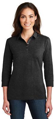 Port Authority Women's 3/4 Sleeve Pleat Meridian Cotton Blend Polo Shirt. L578