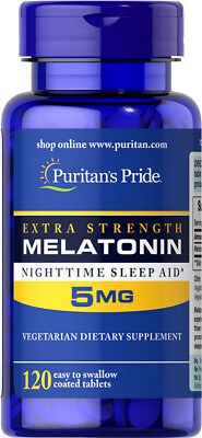 EXTRA STRENGTH MELATONIN 5mg 120 Tablets Sleep Aid Pills - Puritan's Pride ()