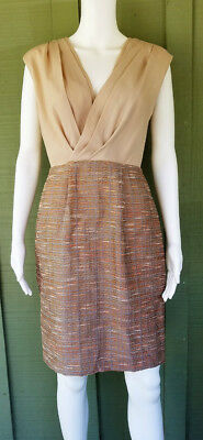 Max And Cleo Marine Beige Pleated Top Peach Tweed Slirt Dress 4