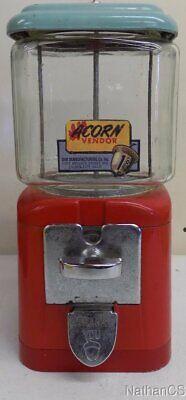 Original Oak Mfg Acorn Penny machine, tear drop chute cover