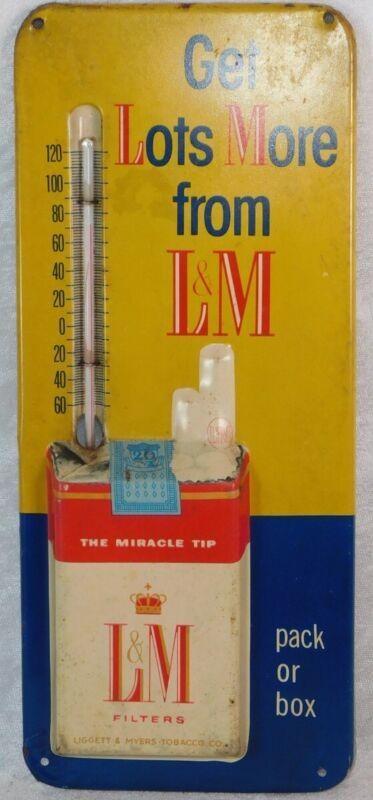 "VTG L&M CIGARETTE METAL ADVERTISING SIGN THERMOMETER 12"""