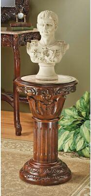Hand-carved hardwood and solid natural marble column pedestal -