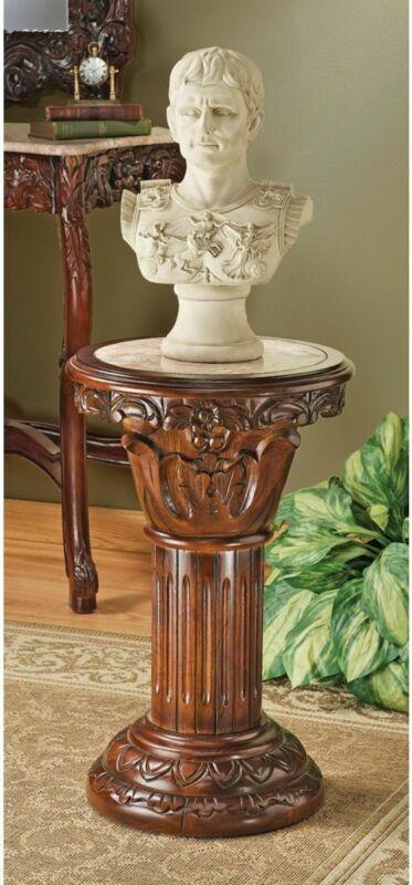 "Hand-carved hardwood and solid natural marble column pedestal 23"""