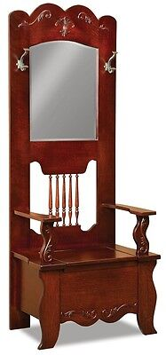 (Amish Wood Traditional Hall Tree Storage Bench Mirror Hallway Entryway Seat Rack)