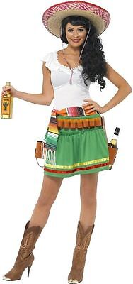 Womens Tequila Shooter Girl Costume FREE SOMBRERO Fancy Dress Funny Mexico (Funny Girl Kostüm)