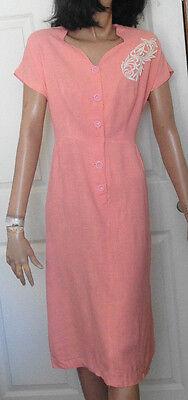 Vintage Pink Short Sleeved Dress Crochet Appliques B40