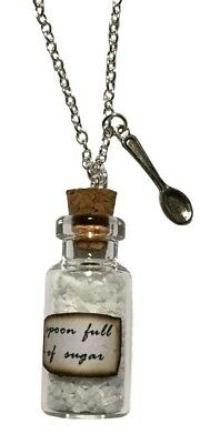 Mary Poppins Spoonful of Sugar Bottle With Spoon Metal Pendant - Mary Sugar Spoon