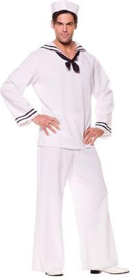 Morris Costumes Men's Sailor Uniforms V Neck Shirt White 42-46. - Sailor Costumes Men