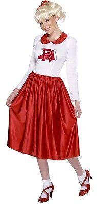 Damen Lang 1950s Jahre Cheerleader Sandy Fett Kostüm Kleid Outfit (Sandy Cheerleader Kostüme)