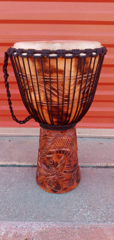 "SALE ! RARE LARGE 24"" DEEP CARVED DJEMBE DRUM DRAGONS Model # M25 + BONUS"