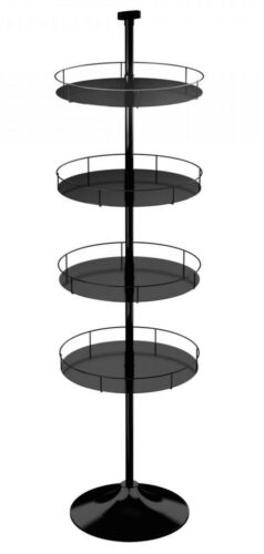 Floor Display Stand - 4 Round Metal Trays Round Base (Black)