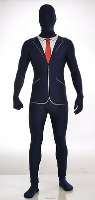 Business Suit Blue Disappearing Man Adult Wall Street Costume Morph Jumpsuit - Business Suit Halloween Costumes