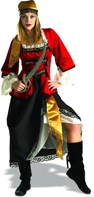 Pirate Queen 4 Pc Deluxe Black Red & Gold Skirt Jacket Halter Top & Headscarf - Red Pirate Jacket