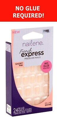 NAILENE 24 Press-On Nails FRENCH EXPRESS PINK - NO GLUE REQUIRED - SHORT #71986
