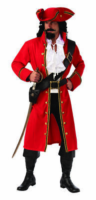 Red Captain Hook Jacket (Rubies Pirate Captain Hook Buccaneer Jacket Adult Mens Halloween Costume)