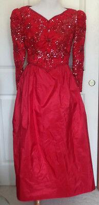 Vintage 80s Red Sequin Beaded Full Skirt Party Dress B38