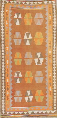 Used, Hand-Woven Geometric Tribal Rust 4'x9' Kilim Abadeh Oriental Runner Rug for sale  Shipping to South Africa
