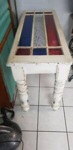 Side table made from a casement window