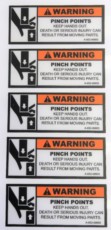 """(Lot of 5) Warning Pinch Points Label Safety Decal Keep Hands Out4.25"""" x 1.75"""""""